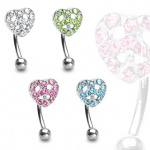 Piercing arcade coeur paix serti