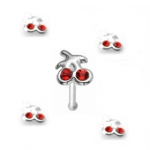 piercing nez paire de cerises en argent