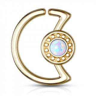 Anneau cartilage doré lune à cadran avec opale (Daith...)