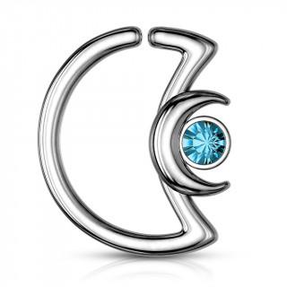 Anneau cartilage duo de lunes à cristal - Bleu aqua (Daith...)