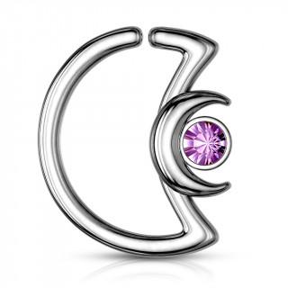 Anneau cartilage duo de lunes à cristal - Violet Tanzanite (Daith...)
