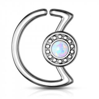 Anneau cartilage lune à cadran avec opale blanche (Daith...)