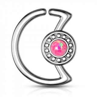 Anneau cartilage lune à cadran avec opale rose  (Daith...)