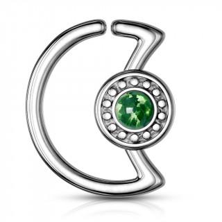 Anneau cartilage lune à cadran avec opale verte  (Daith...)