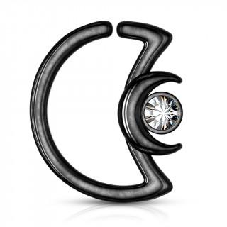 Anneau cartilage noir duo de lunes à cristal (Daith...)