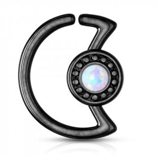 Anneau cartilage noir lune à cadran avec opale (Daith...)
