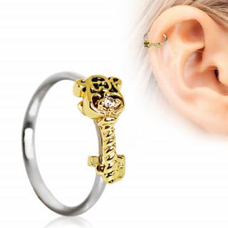 Anneau cartilage oreille à clé dorée sertie