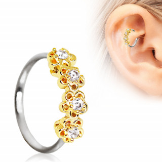 Anneau cartilage oreille à fleurs dorées serties