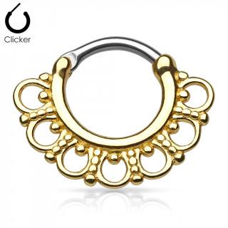 Anneau clips gris à boucles perlées dorées