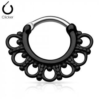 Anneau clips gris à boucles perlées noires