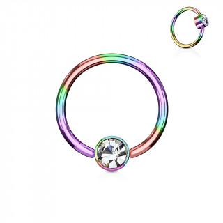 Anneau couleur essence à cylindre captif serti d'un cristal