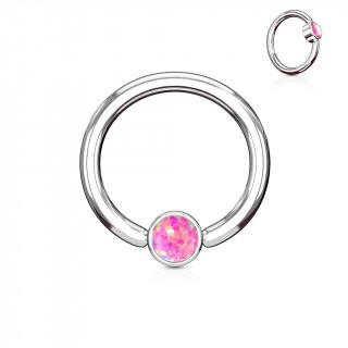 Anneau à cylindre captif serti d'une opale rose