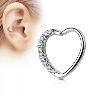 Anneau de cartilage/Daith tordable en coeur à strass - Clair