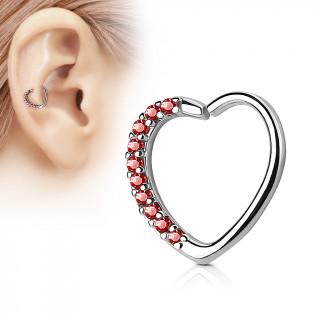 Anneau de cartilage/Daith tordable en coeur à strass - Rouge