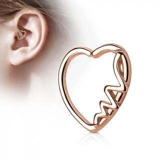 Anneau de cartilage tordable coeur electrocardiogramme - Plaqué or rose