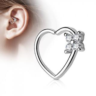Anneau de cartilage tordable coeur à fleur strass - clair