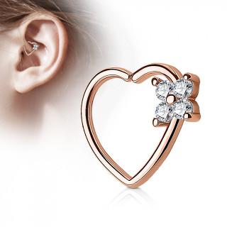 Anneau de cartilage tordable coeur à fleur strass - Plaqué or rose