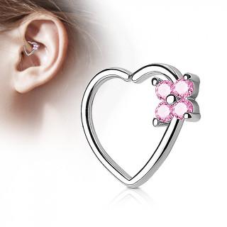 Anneau de cartilage tordable coeur à fleur strass - rose