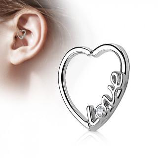"""Anneau de cartilage tordable coeur """"love"""""""