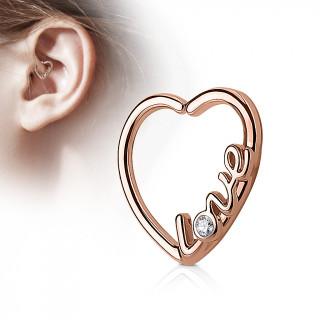"""Anneau de cartilage tordable coeur """"love"""" - Plaqué or rose"""