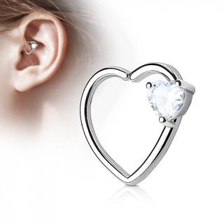 Anneau de cartilage tordable duo de coeur - strass clair