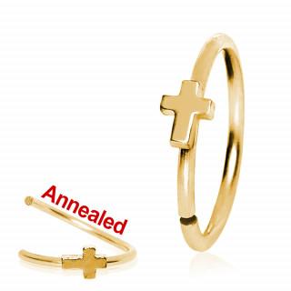 Anneau de nez ajustable doré en acier à croix latine