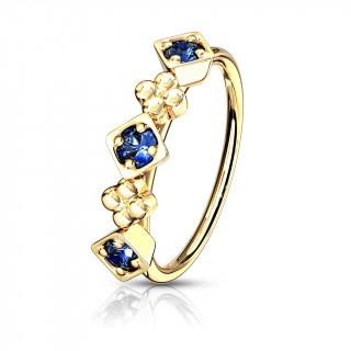 Anneau de nez doré à design fleuri - Bleu