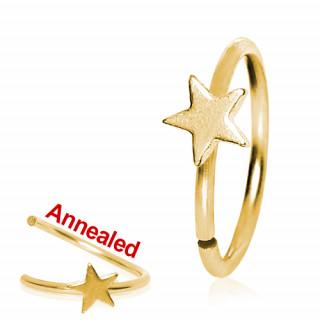 Anneau de nez doré à étoile en acier souple