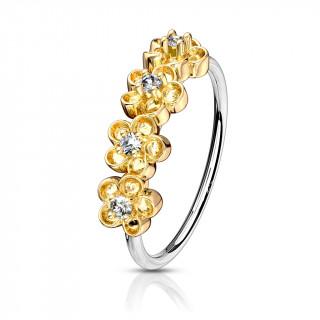 Anneau de nez à quatre fleurs serties - plaqué or