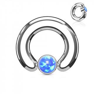 Anneau écarteur à cylindre captif serti d'une opale bleue