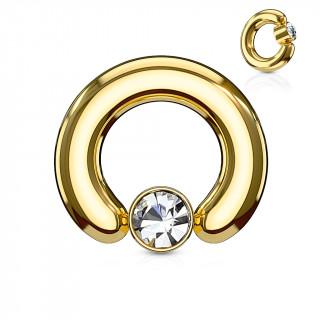 Anneau écarteur doré à cylindre captif serti d'un cristal