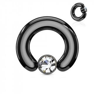 Anneau écarteur noir à cylindre captif serti d'un cristal