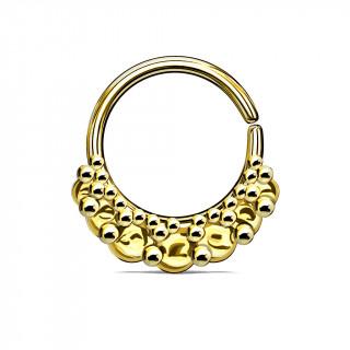 Anneau pliable doré à amas de perles (septum / cartilage oreille)