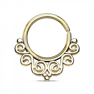 Anneau pliable doré style baroque (septum / cartilage oreille)