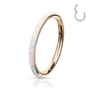 Anneau segment clip Cuivré à bande d'Opale Blanche (acier haute précision)