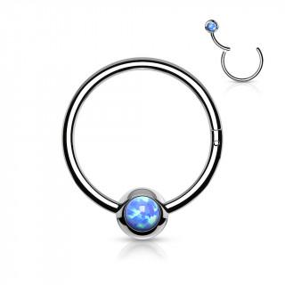 Anneau à segment en acier imitation CBR serti Opale Bleue