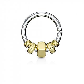 Anneau (tordable) à perles style mécanique - Doré