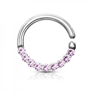 Anneau tordable serti en arc Rose (septum, cartilage)