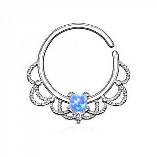 Anneau tordable style Filigrane à Opale bleue