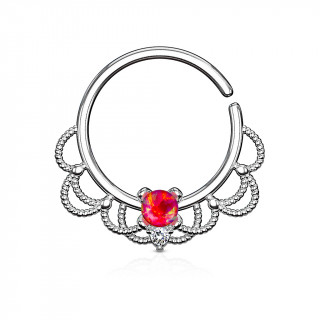 Anneau tordable style Filigrane à Opale rouge