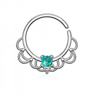 Anneau tordable style Filigrane à Opale verte