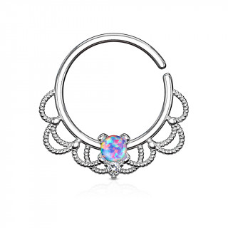 Anneau tordable style Filigrane à Opale violette