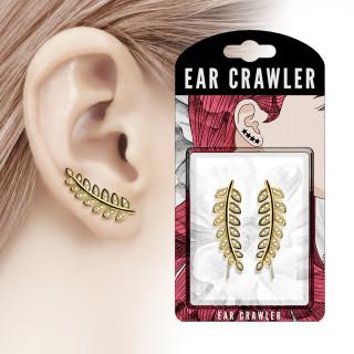 Barrettes d'oreilles à rameau d'olivier doré