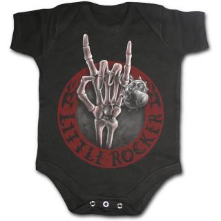 Body bébé noir avec main squelette à salut rockeur et tétine