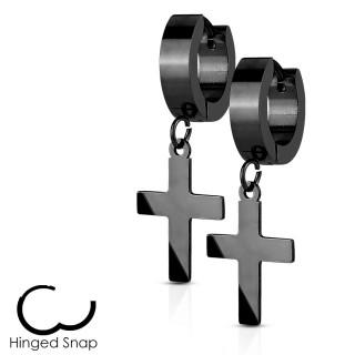 Boucles d'oreille noires acier à pendentif croix