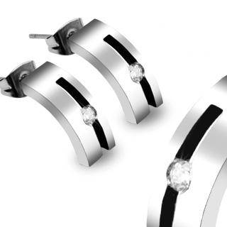 Boucles d'oreilles acier sertis