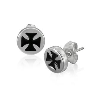 Boucles d'oreilles croix de malte gravée noire