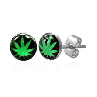 Boucles d'oreilles logo cannabis