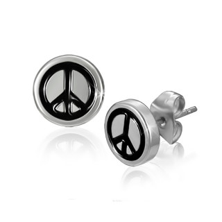 Achat boucles d 39 oreilles logo peace and love grav noir - Boucle d oreille peace and love ...