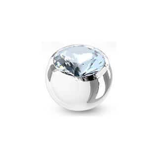 Boule de piercing en acier sertie - Bleu clair